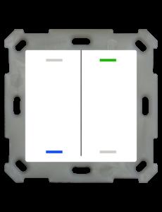 MDT Taster Light 55  2 voudig RGBW met temp.sensor zuiver wit glanzende, NEUTRAAL versie