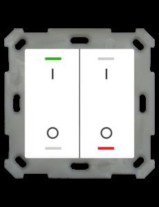 MDT Taster Light 55  2 voudig RGBW met temp. sensor zuiver wit glanzend  I/O symbool