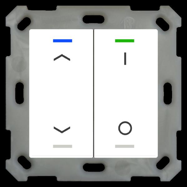 MDT Taster Light 55  2 voudig RGBW zuiver wit glanzend met temp.sensor Up/Down en I/O symbool