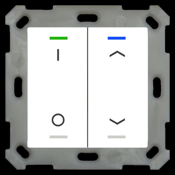 MDT Taster Light 55  2 voudig RGBW zuiver wit glanzend  I/O en Up/Down  symbool