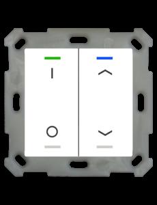 MDT Taster Light 55  2 voudig RGBW zuiver wit glanzend  met temp.sensor I/O en Up/Down  symbool