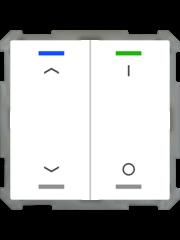 MDT Taster Light 63  2-voudig met temp.sensor  studiowit glanzende Up/Down en I/O  symbool