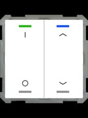 MDT Taster Light 63  2-voudig met temp.sensor studiowit glanzende I/O en Up/Down symbool