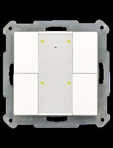 MDT KNX RF+ Taster Plus 4-voudig met actor,  Witte glanzende afwerking, status- en oriëntatie-LED
