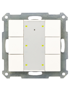 MDT KNX RF+ Taster Plus 6-voudig met actor,  Witte glanzende afwerking, status- en oriëntatie-LED