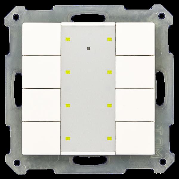 MDT KNX RF+ Taster Plus 8-voudig met actor,  Witte glanzende afwerking, status- en oriëntatie-LED