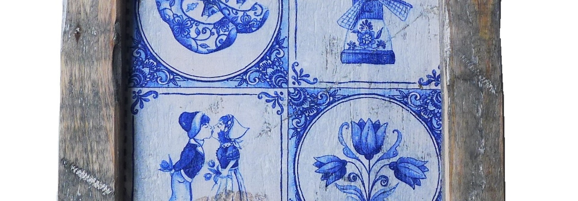 wooden tile old dutch delft 4  tile in