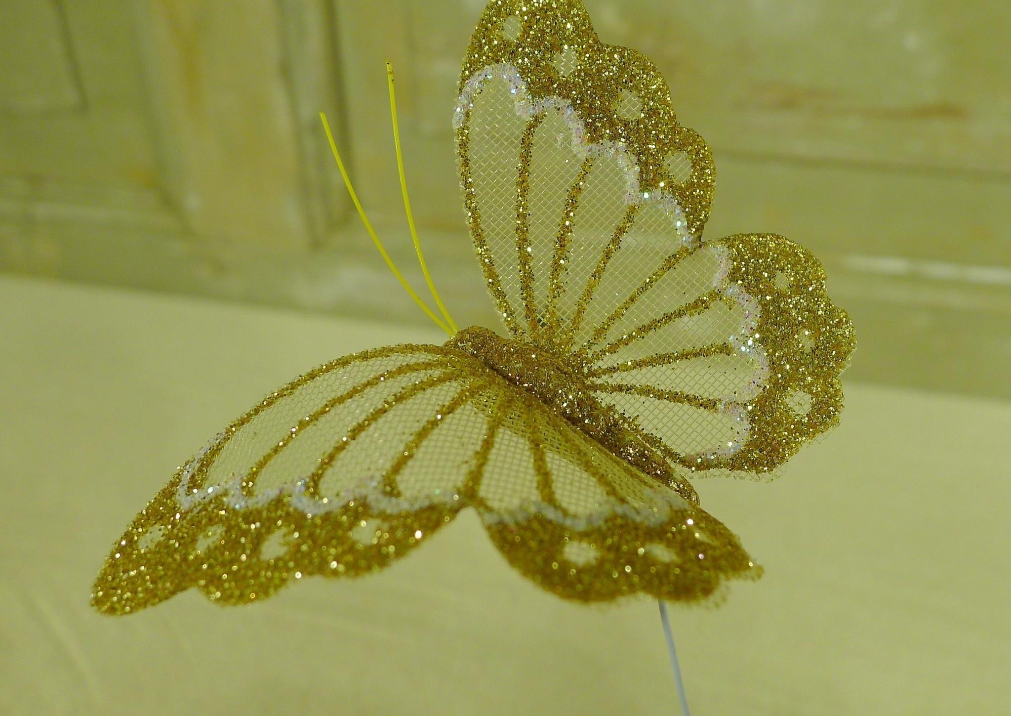 flor dec fabric butterfly 7.5 gold-8