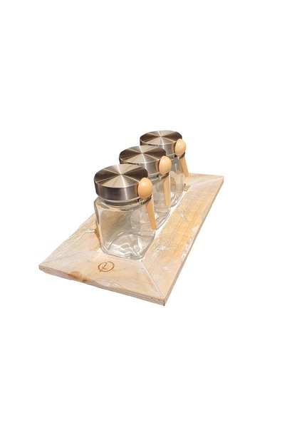 tray with 3 jars