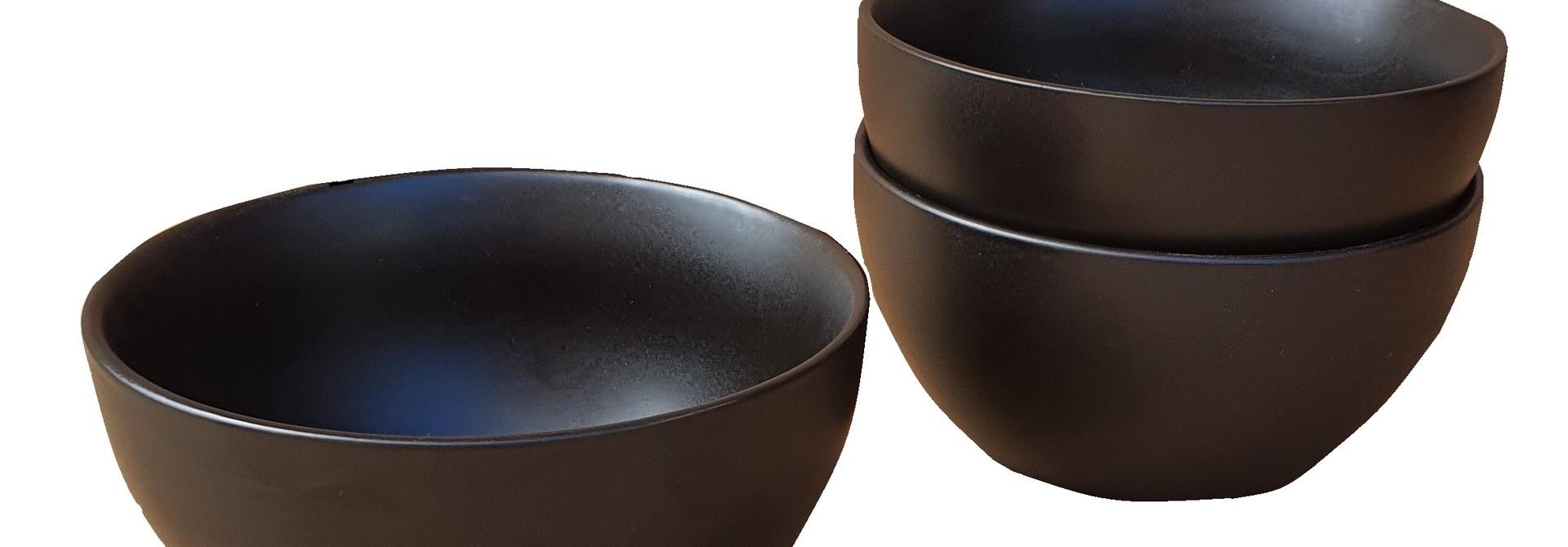 pot ceramic bowl black 14 cm