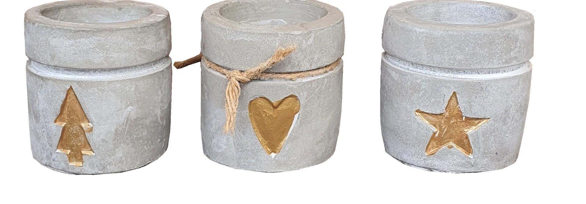 candle hold ceramic concrete gold assort 3