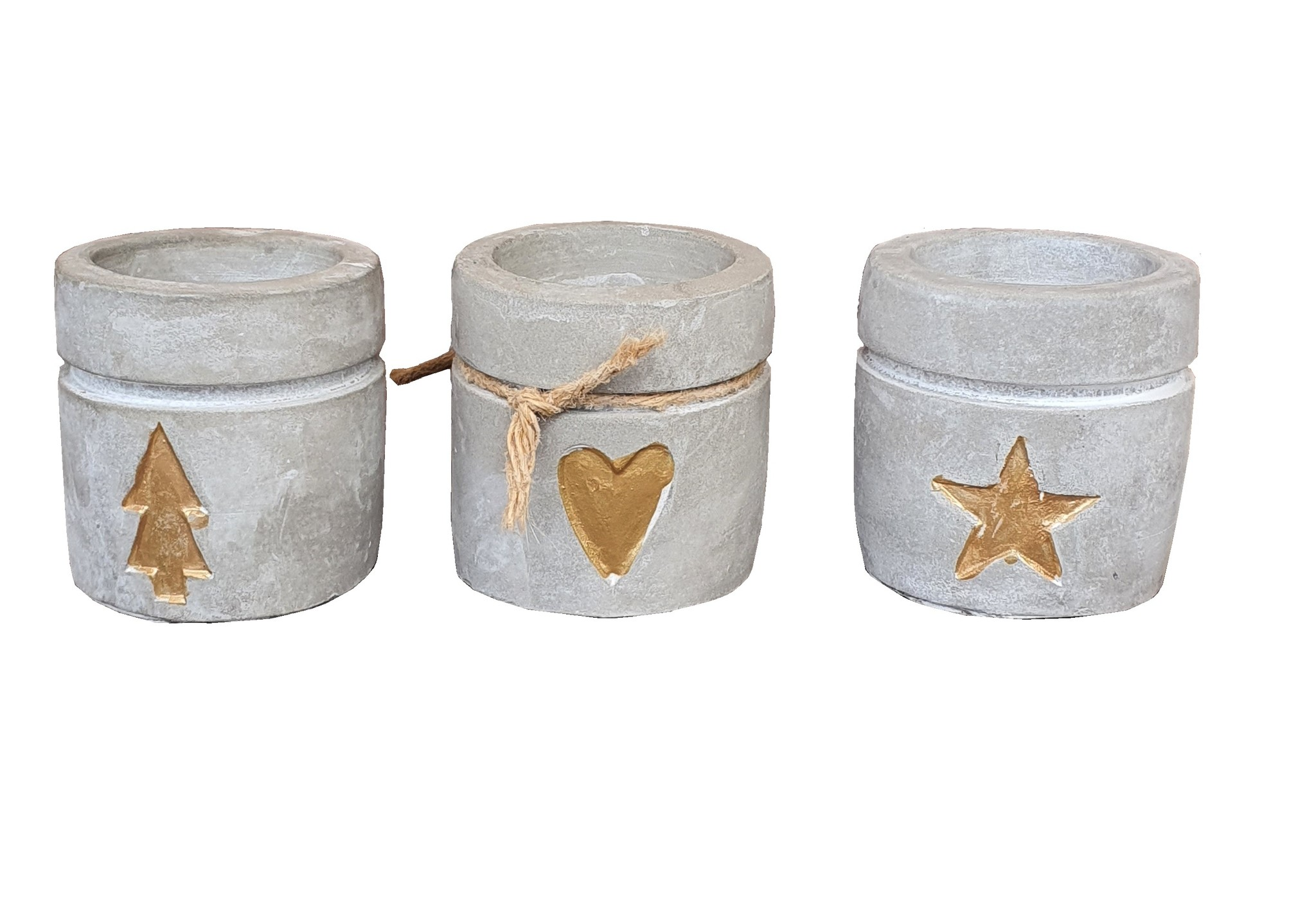 candle hold ceramic concrete gold assort 3-1