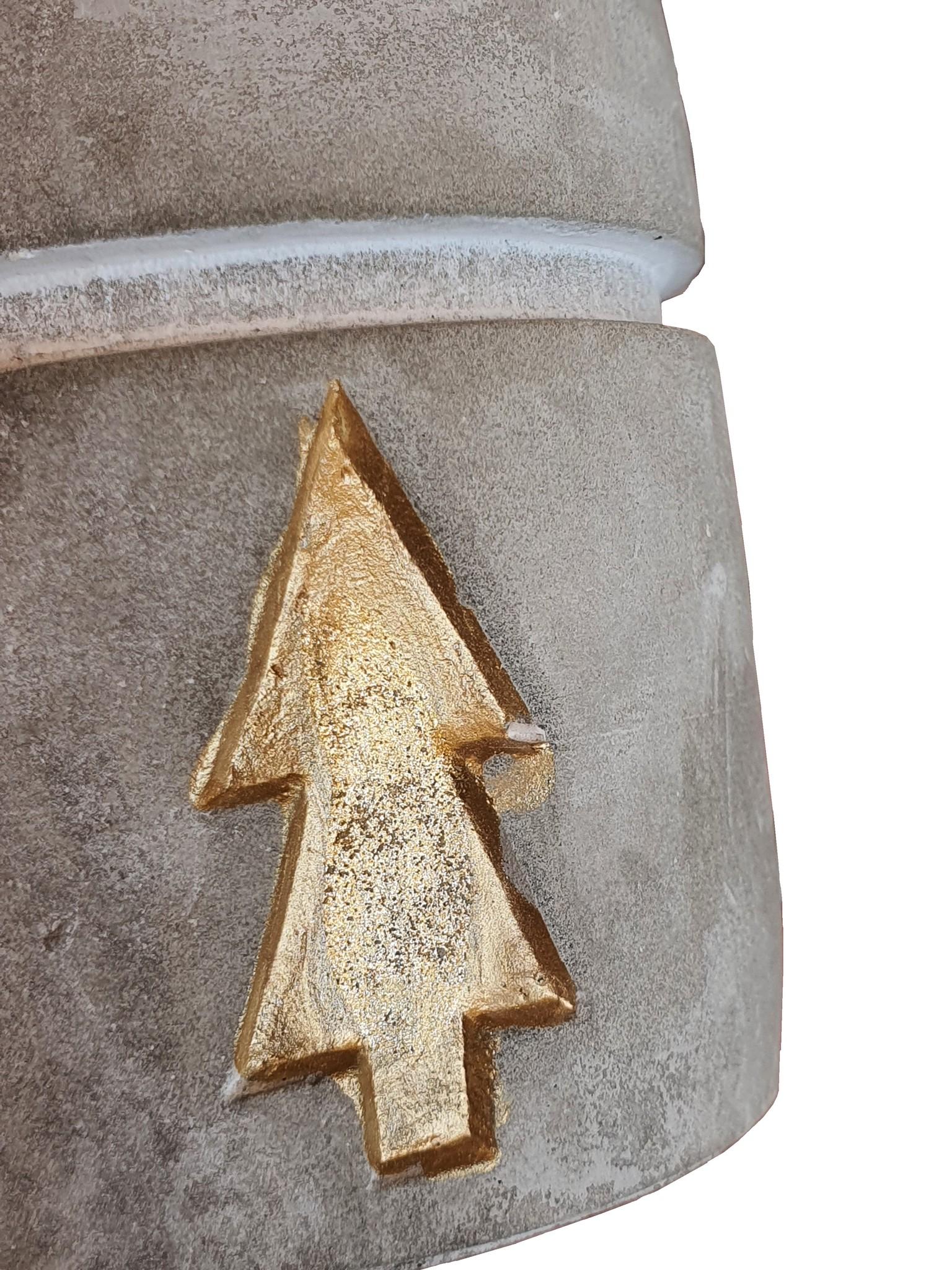 candle hold ceramic concrete gold assort 3-4