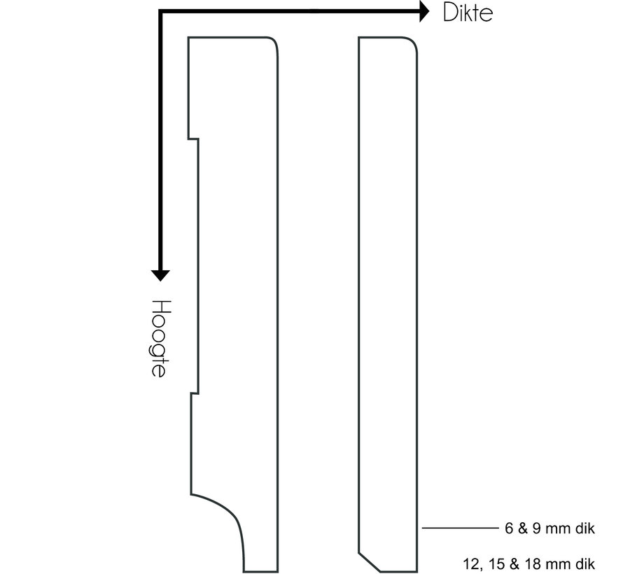 GLADDE PLINT MDF-V313 15 x 160 mm