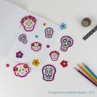 Dia de los Muertos stickers - mixed sizes