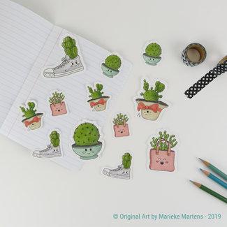 Cactus cuties stickers - gemengde maten - set 1