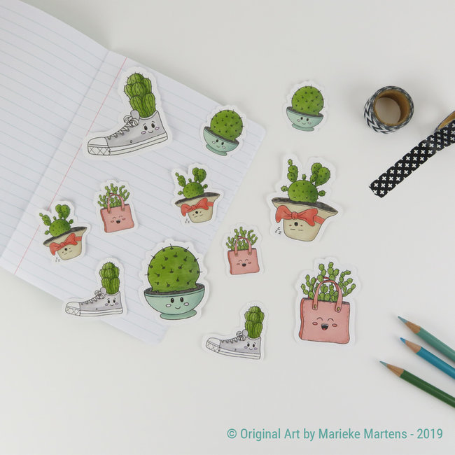 Cactus cuties stickers - mixed sizes - set 1