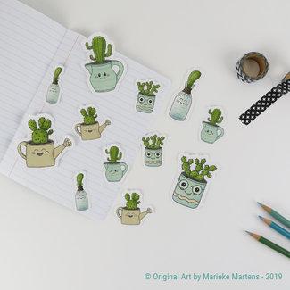 Autocollants de Cactus cuties - tailles mixtes - set 2