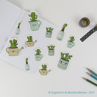 Cactus cuties stickers - mixed sizes - set 2