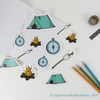 Camping Essentials stickers - gemengde maten
