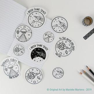 Monoline  stickers - gemengde maten