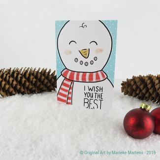 Sneeuwman - Kerstkaart