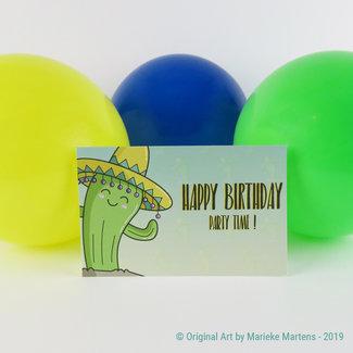 Sombrero cactus - verjaardagskaart