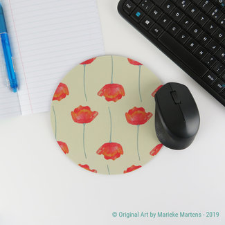 Poppies  - Beige - Mouse pad