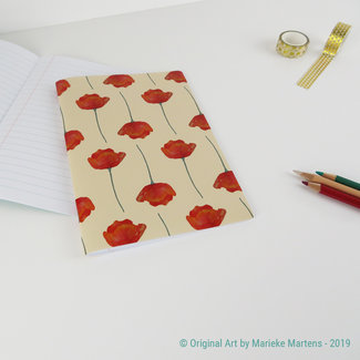 Klaprozen beige - Notitieboekje