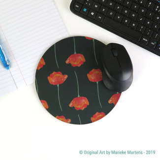 Poppies - Black - Mouse pad
