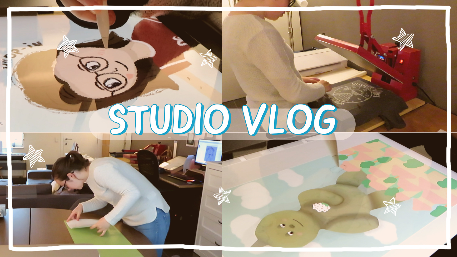STUDIO VLOG 9 | Pressing T-shirts - Thinking about an art community - Life of a shop owner