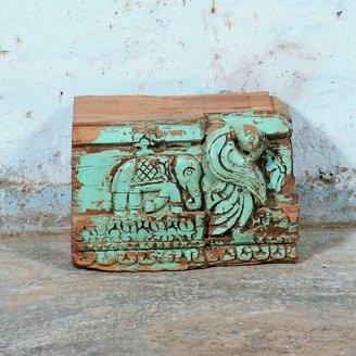 Vintage Adventures Turquoise voetstuk olifant