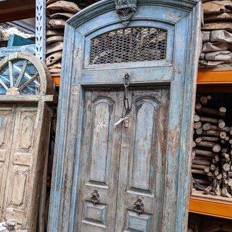 Vintage Adventures Antieke grijsblauwe deur India