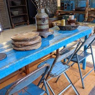 Vintage Adventures Markttafel teak blauw