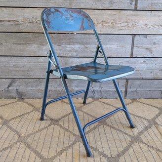 Vintage Adventures Vintage stalen klapstoel blauw