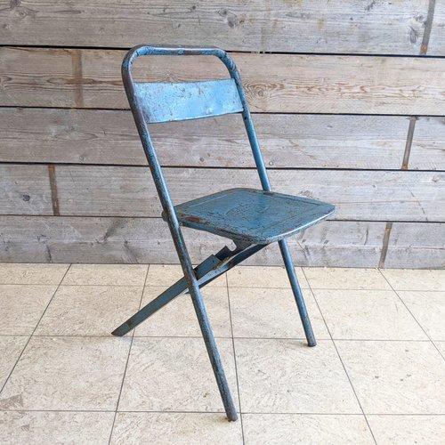 Vintage Adventures Vintage stalen Industriele  klapstoel #2 blauw