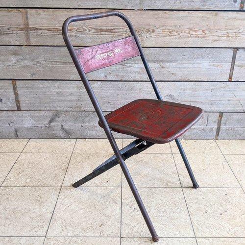 Vintage Adventures Vintage stalen Industriele klapstoel #2 rood