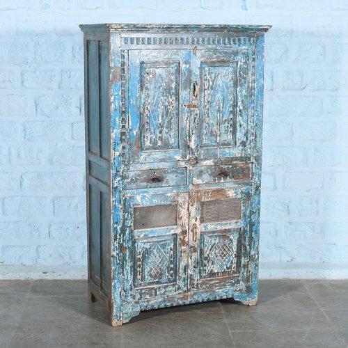Indiase antieke opbergkast blauw Bundi
