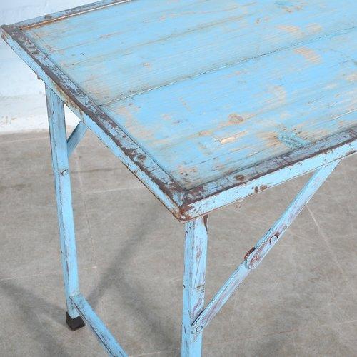 Indiase vintage klaptafel markttafel blauw