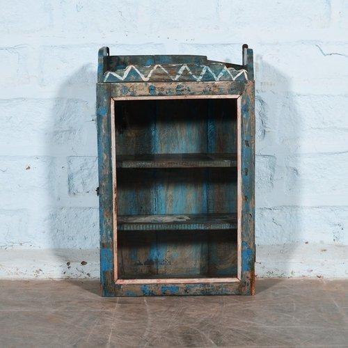 Indiase wand vitrinekast blauw