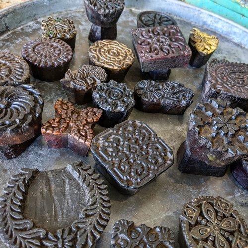 Vintage Adventures Batik stempel, blokprint, textielstempel, blokstempel uit India