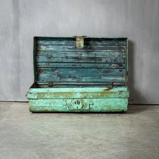 Vintage Adventures Stalen reiskist turquoise