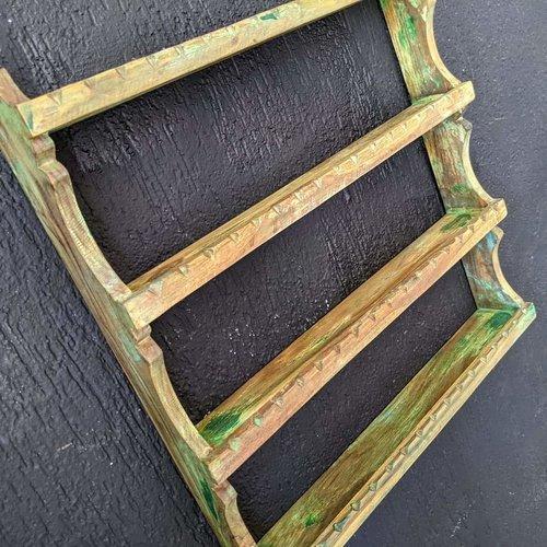 Vintage Adventures Houten kruidenrekje groen vintage look 4 plankjes