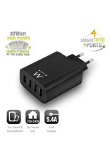 Ewent USB Charger 110-240V 4 port smart charging 5.4A black