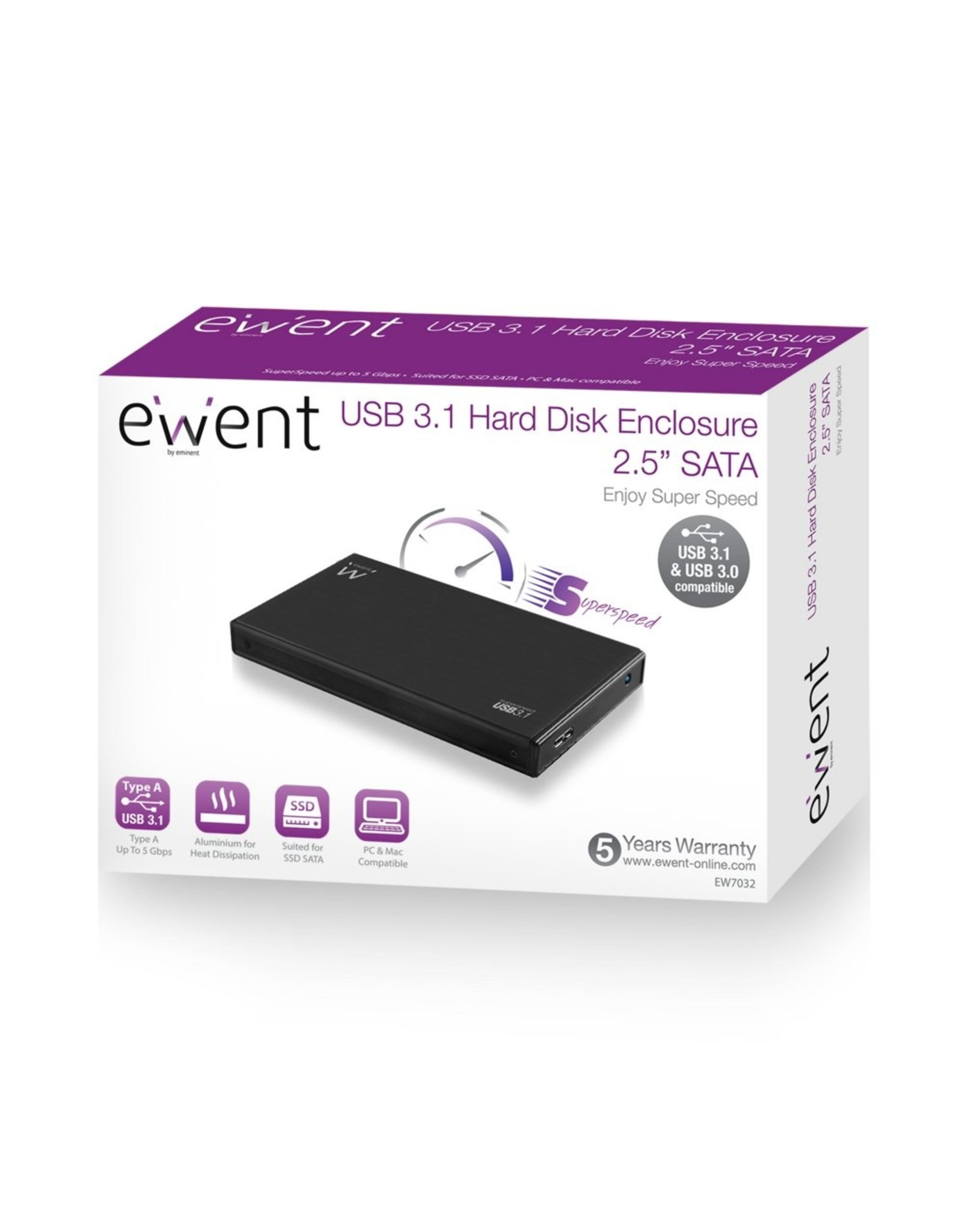 "Ewent USB 3.1 Gen1 (USB 3.0) 2.5"" SATA Hard Disk and SSD"