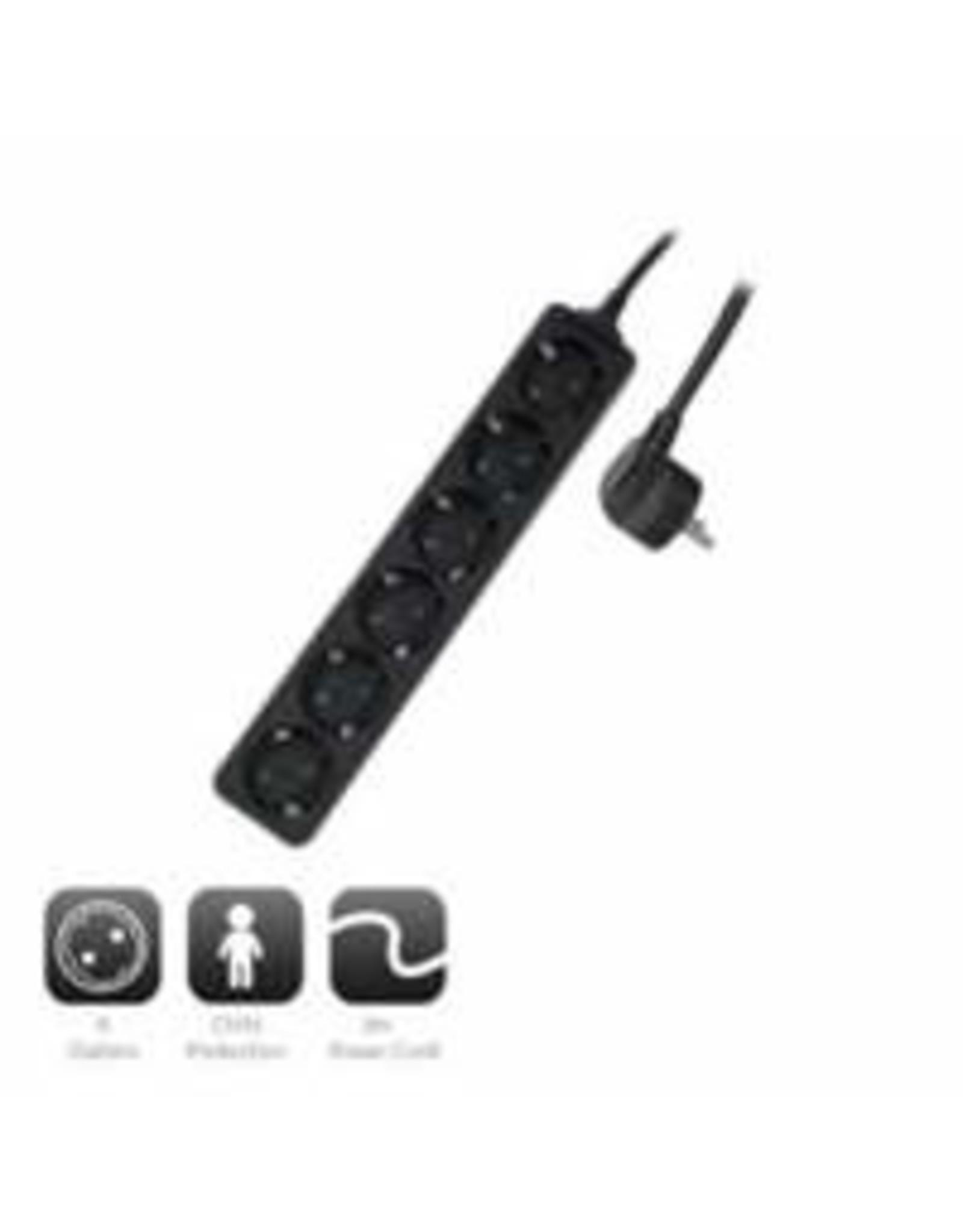 Ewent Power Strip Black, 6 plugs, 3.0m, German version
