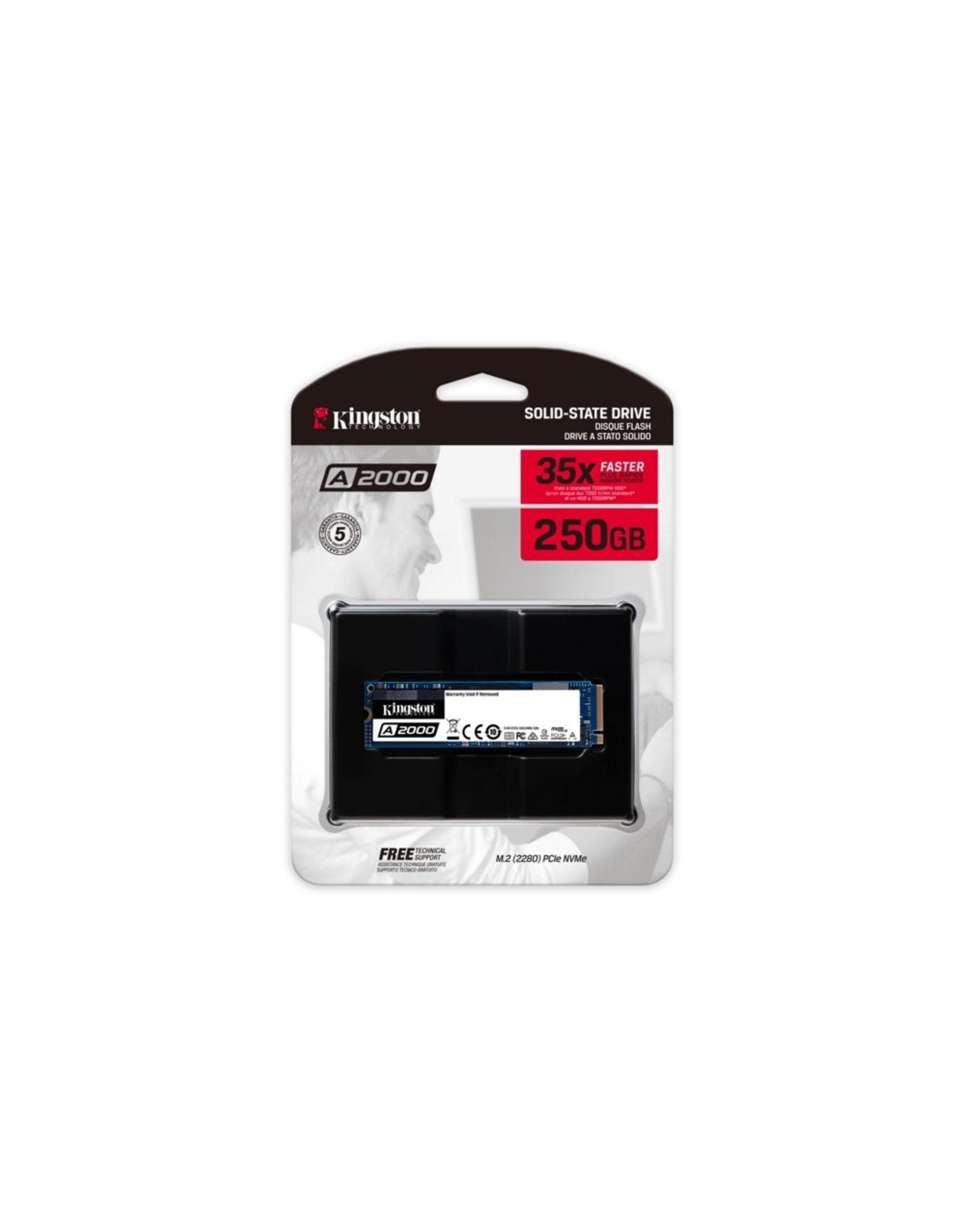 Kingston SSD A2000 250GB NVMe M.2 2000MB/s read 1100/MB/s