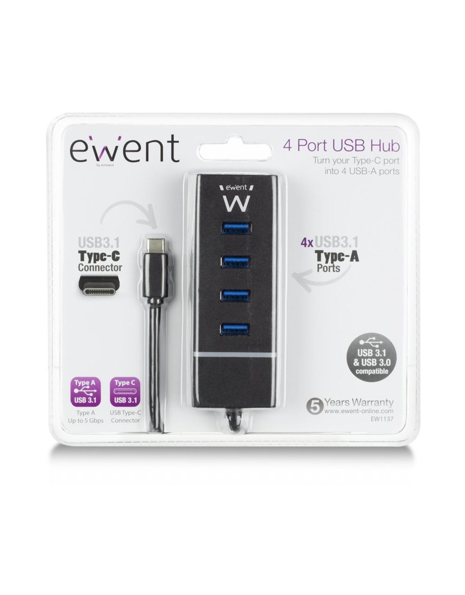 Ewent USB 3.1 Gen1 (USB 3.0) Hub 4 port Type-C connector