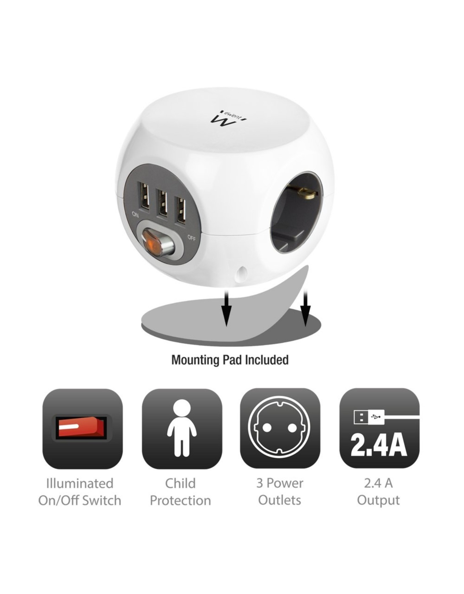 Ewent Power block 3 USB charging ports, 3 Outlets, white