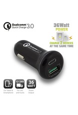 Ewent USB-C Car Charger 18W + USB-A Qualcomm QC3.0 18W black